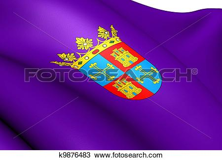 Drawing of Flag of Palencia City, Spain. k9876483.