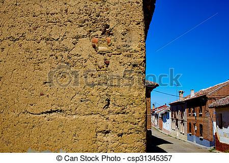 Stock Images of Way of saint James adobe mud walls at Palencia.