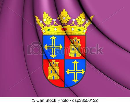 Drawings of Flag of Palencia City, Spain..