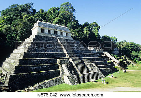 Stock Photo of Temple of the inscriptions palenque is876.