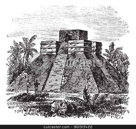 Palenque Pyramid temple in Mexico vintage engraving stock vector.