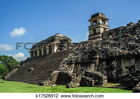 Stock Photo of Observation Tower in Ancient City Palenque.