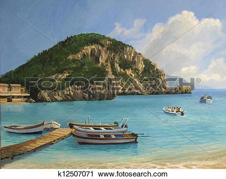 Clipart of The Boats of Paleokastritsa k12507071.