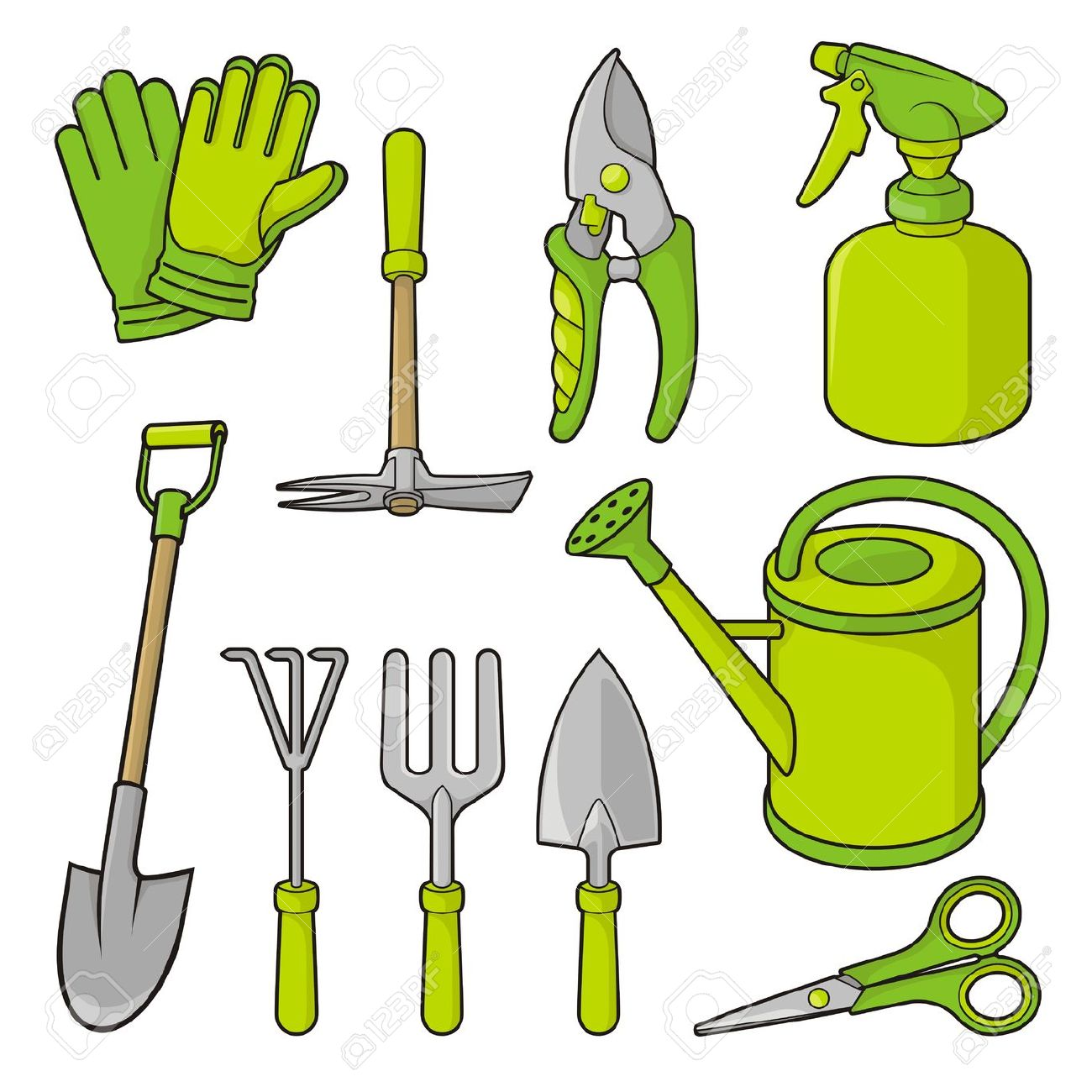 Paleontologist tools black and white clipart.