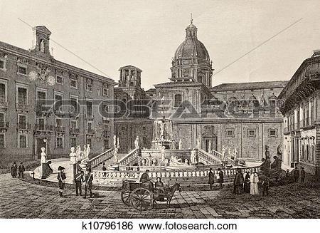 Stock Illustration of Piazza Pretoria, Palermo, Italy k10796186.