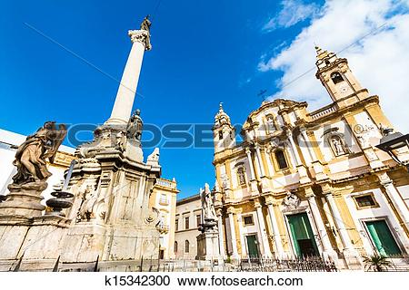 Stock Photography of Church of Saint Dominic, Palermo, Italy.