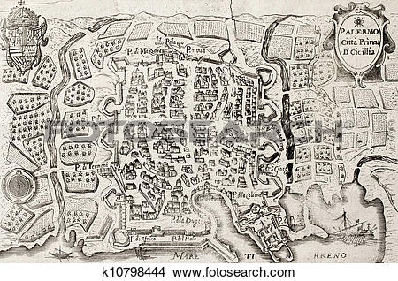 Drawings of Old map bis of Palermo, Italy k10798444.