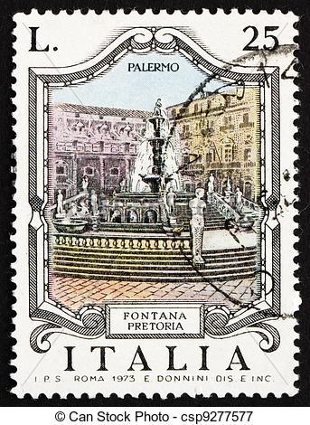 Picture of Postage stamp Italy 1973 Pretoria Fountain, Palermo.