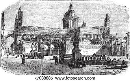Clipart of Cathedral of Palermo in Palermo Sicily Italy vintage.
