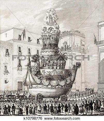 Stock Illustration of Palermo, Italy, St. Rosalia triumphal.
