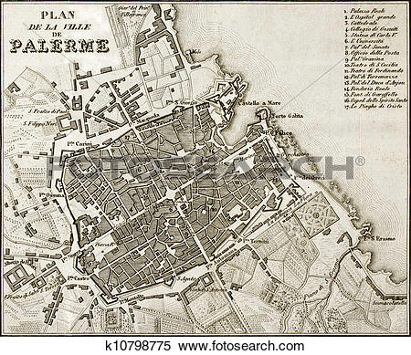 Stock Illustration of Old map of Palermo, Italy k10798697.