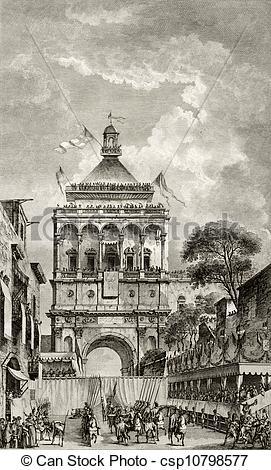 Stock Illustrations of Palermo, Italy, Porta Nuova antique.