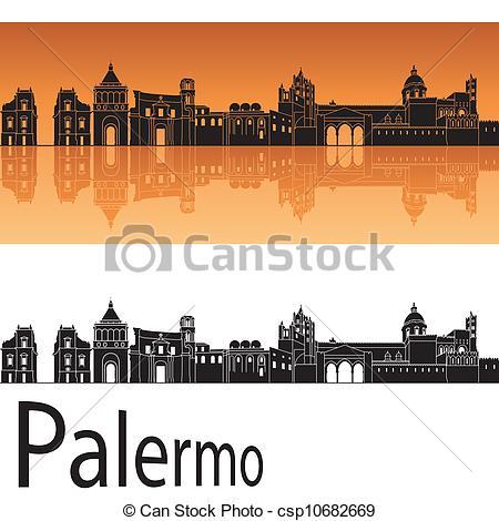 Clip Art Vector of Palermo skyline in orange background in.