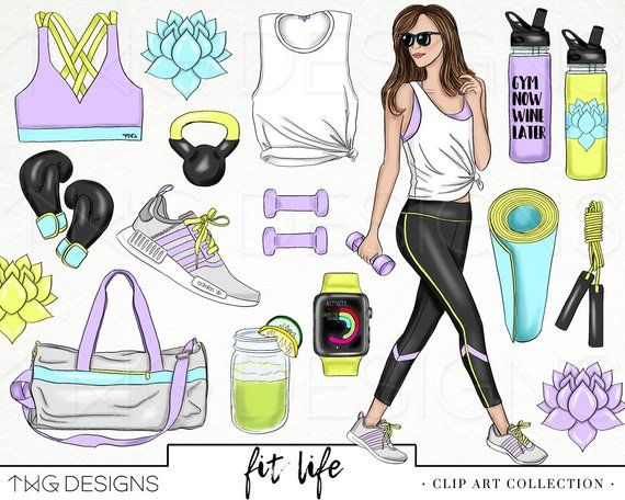 Fitness Fashion Girl Clip Art Watercolor Clipart PNG Workout.