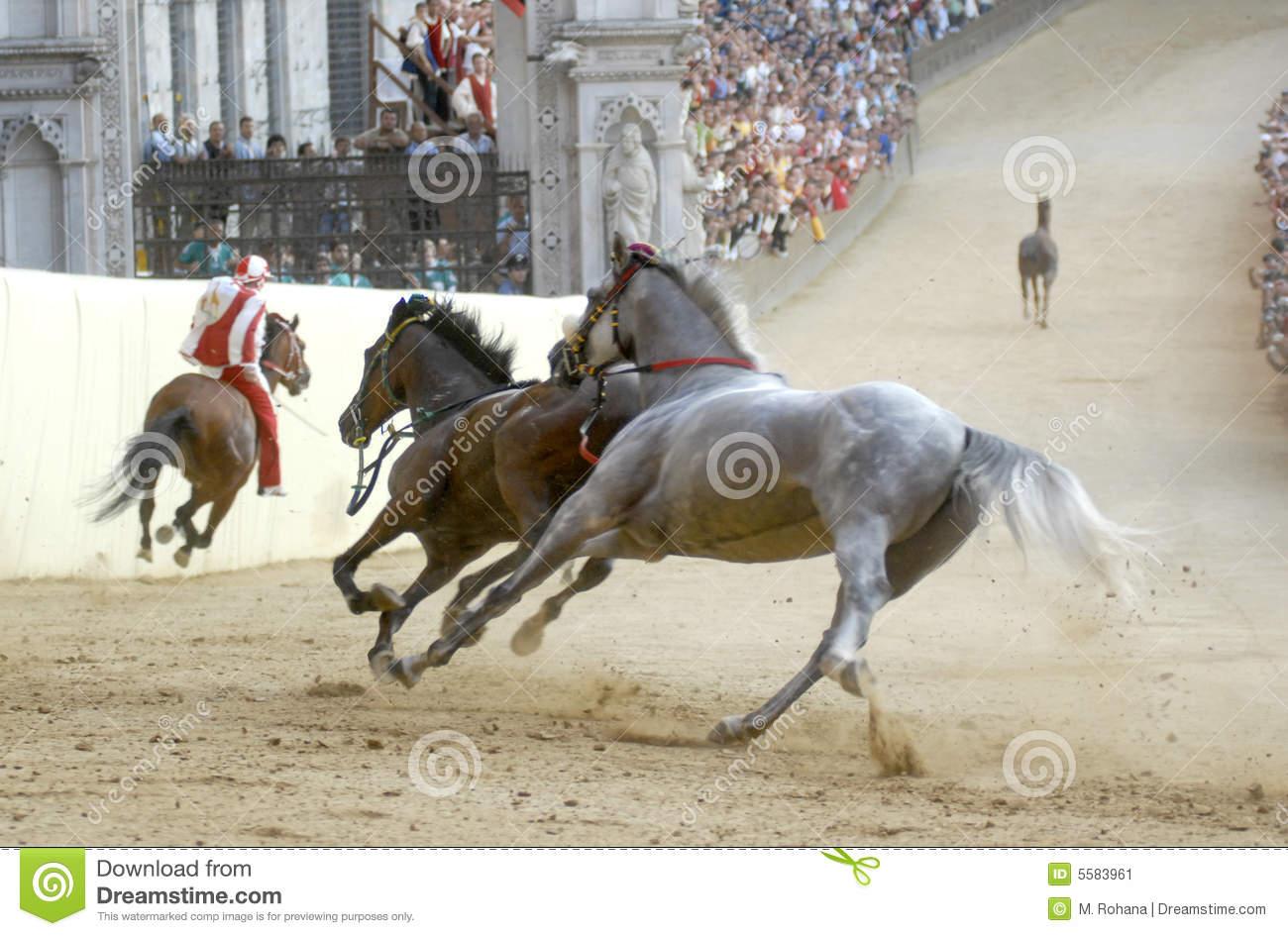 Siena's Palio Horse Race Editorial Photo.