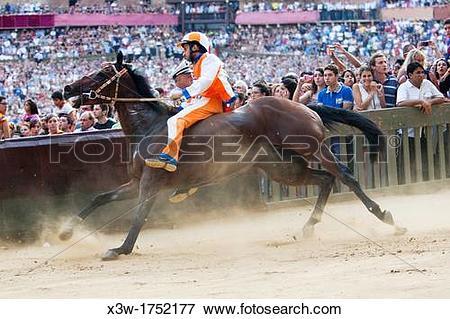Picture of trial run, contrada of the unicorn, palio of siena.