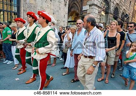 Stock Photo of Parade during ?Palio? traditional festival. Siena.