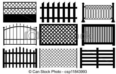 Palisade Fencing Clipart.