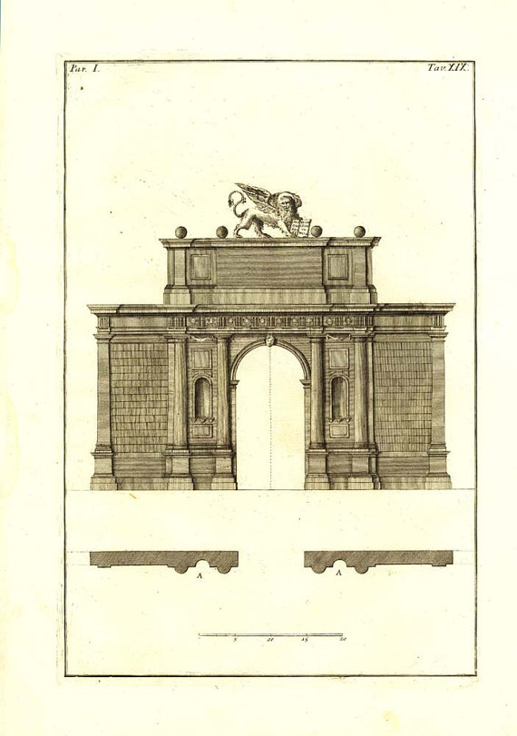Doric Order Portal Palladio Antique Print 1760 Renaissance.