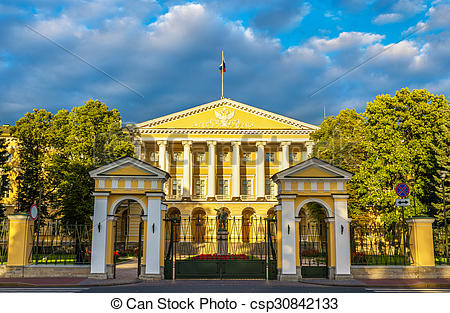 Stock Photos of Smolny Institute, a Palladian edifice in St.