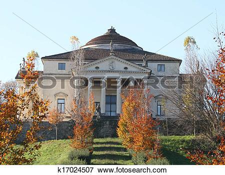 Picture of palladian Villa called La Rotonda in Vicenza in autumn.