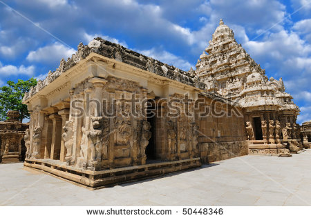 An Okld South Indian Temple Built By The Pallava Kings Stock Photo.