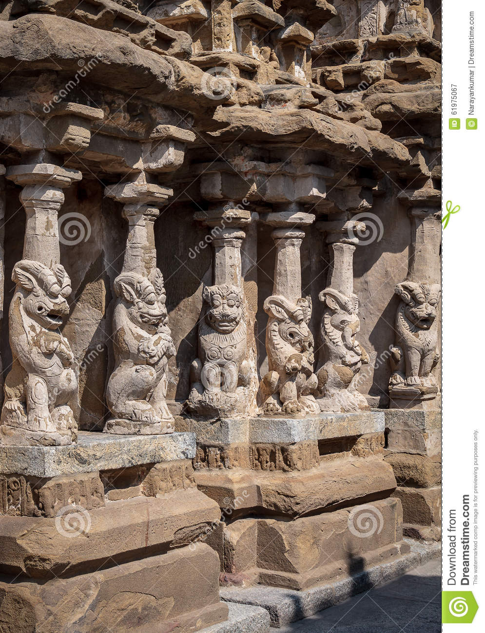 Lion Pillars In Ancient Hindu Temple Of The Pallavas, Kanchipuram.