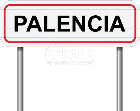 Welcome To Palencia Spain Road Sign Vector stock vector art.