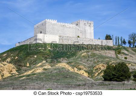Drawings of Castle Monzon de Campos in Palencia, Spain csp19753533.