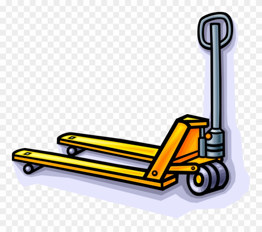 Vector Illustration Of Hydraulic Hand Jigger Forklift.