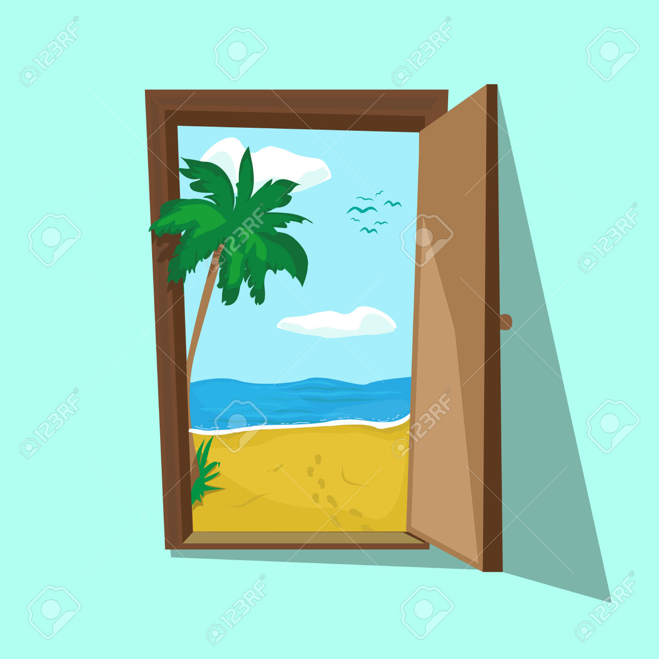 Illustration Of An Open Door With Beach Palm And Sea There. Dream.