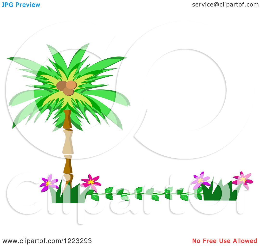 Clipart of a Tropical Palm Tree and Flower Border.