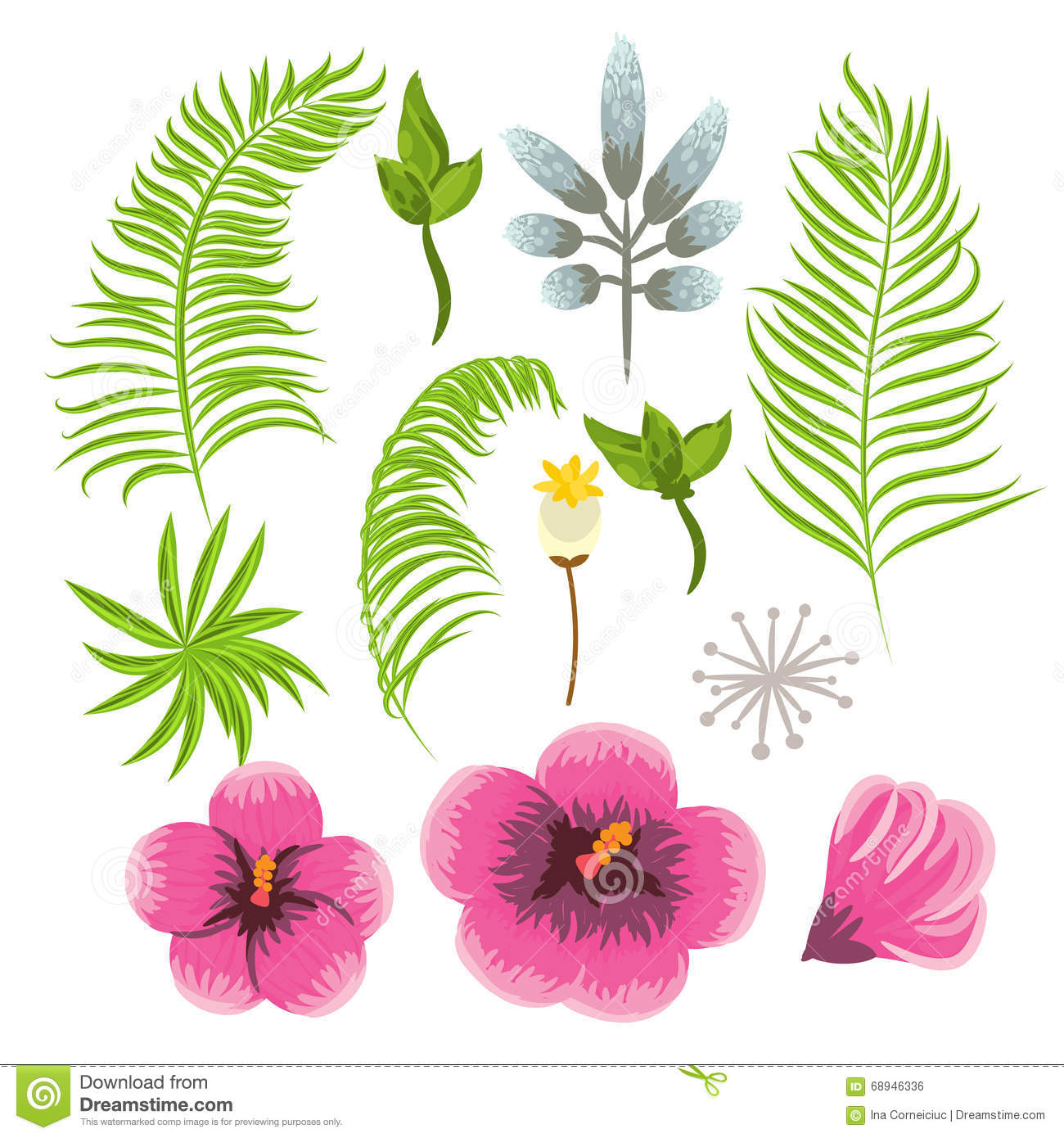 Set Of Exotic Tropical Flowers And Palm Leaves. Stock Vector.