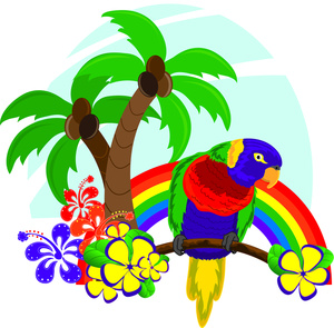 Hawaiian palm trees clipart.