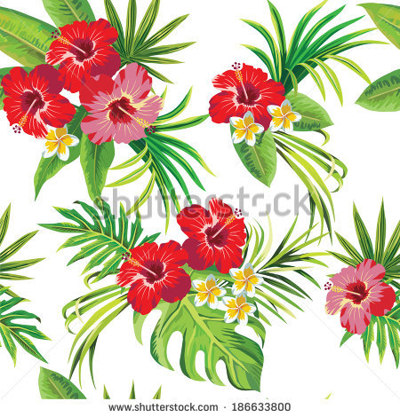 Tropical Hibiscus Leaves And Flowers Clipart.