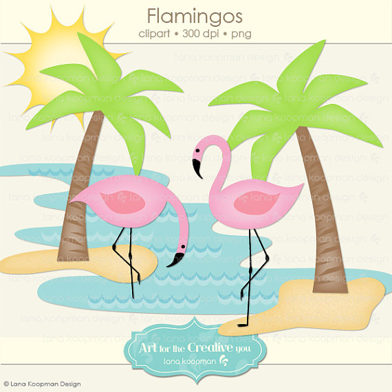 Flamingos and Palm Tree Digital Clipart.