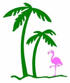 Digital Clip art Flamingos and Palm Trees by Lana Koopman Design.