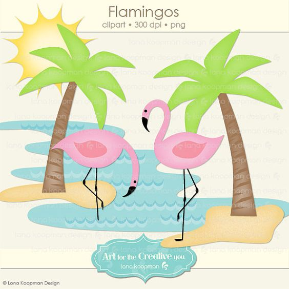 Digital Clip art Flamingos and Palm Trees by Lana Koopman Design.
