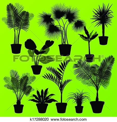 Clipart of Exotic jungle bushes grass, reed, palm tree wild plants.