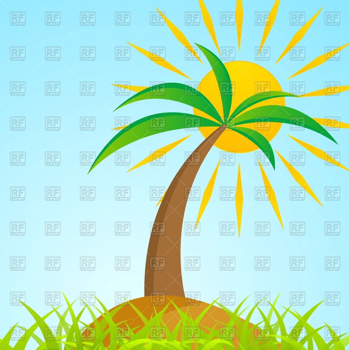 Tropical palm tree on grass island with shiny sun Vector Image.