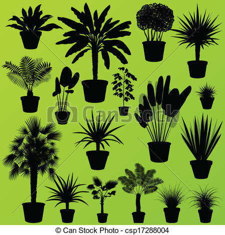 Vector Clipart of Exotic jungle bushes grass, reed, palm tree wild.