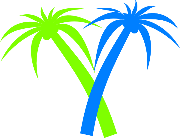 Sunset clipart with green palm trees.