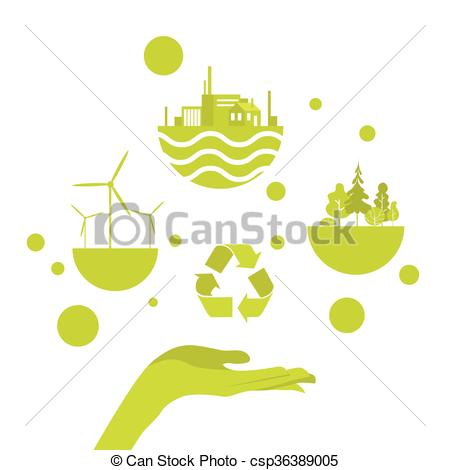 Vector Clipart of Open Palm Green Energy Concept Logo Flat Vector.