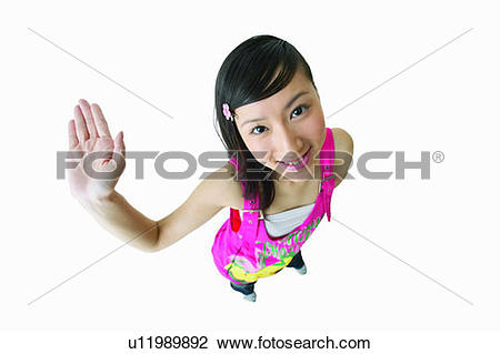 Stock Photo of White Background, Human Palm, Long Hair, One Person.