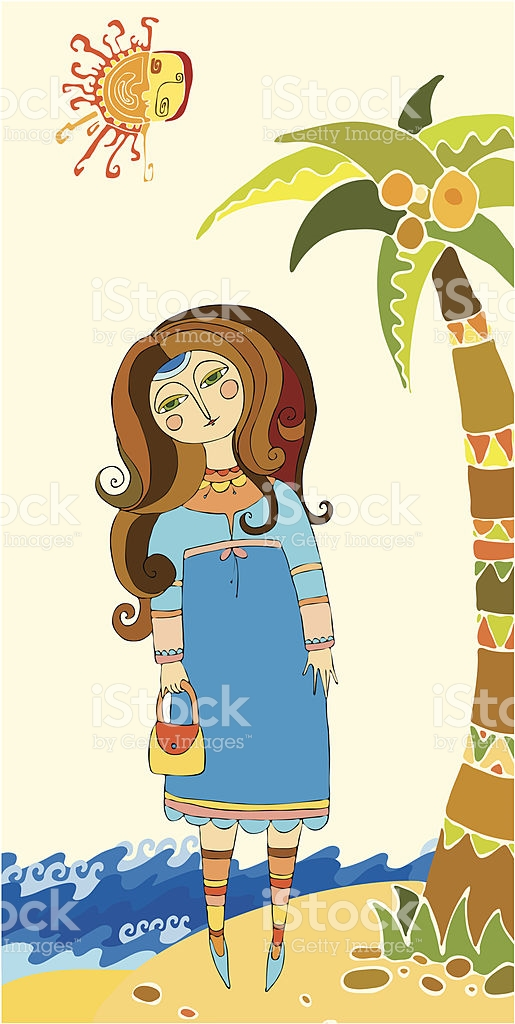 Girl And Palm stock vector art 105681448.