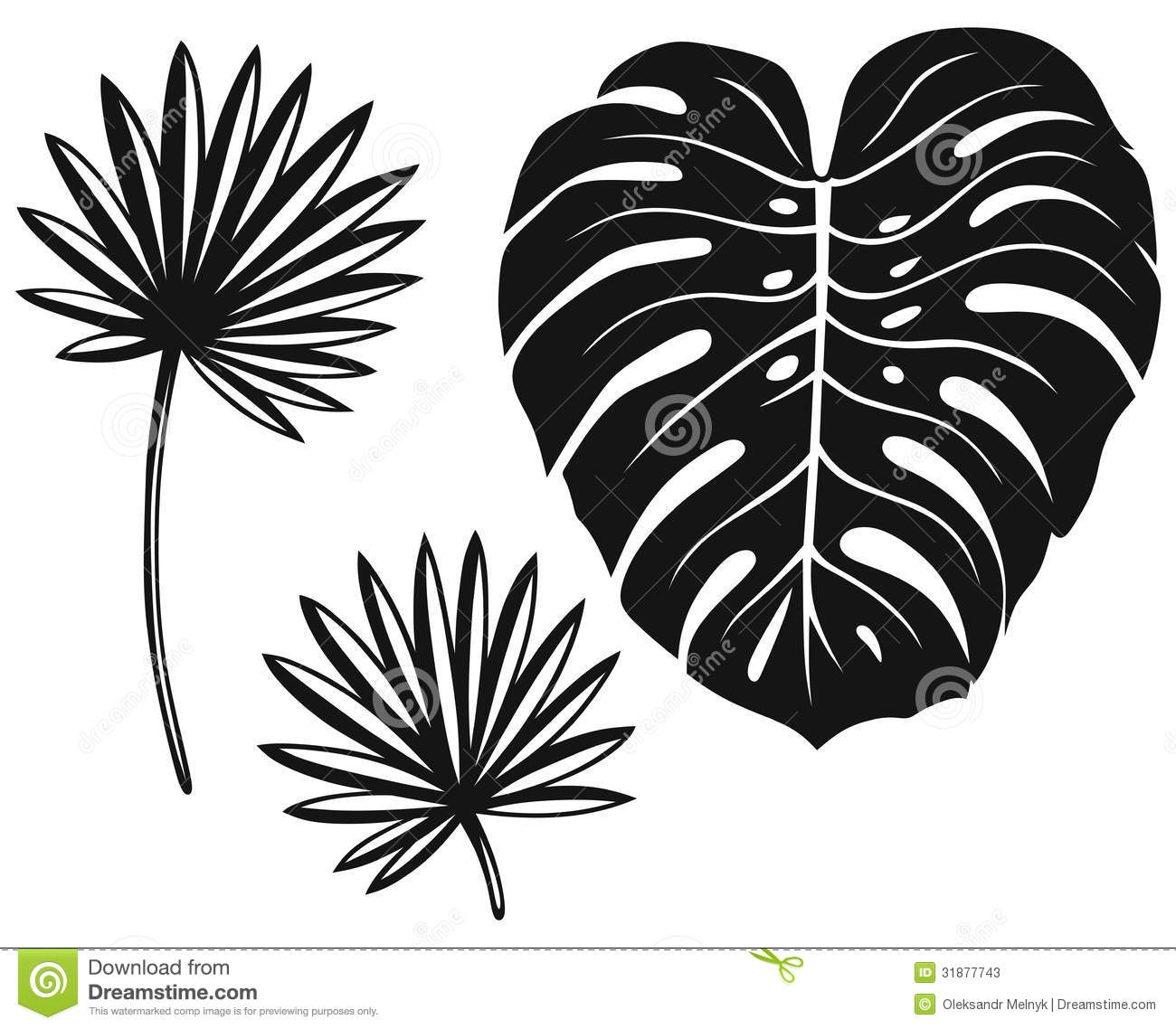 Palm leaf clipart black and white.