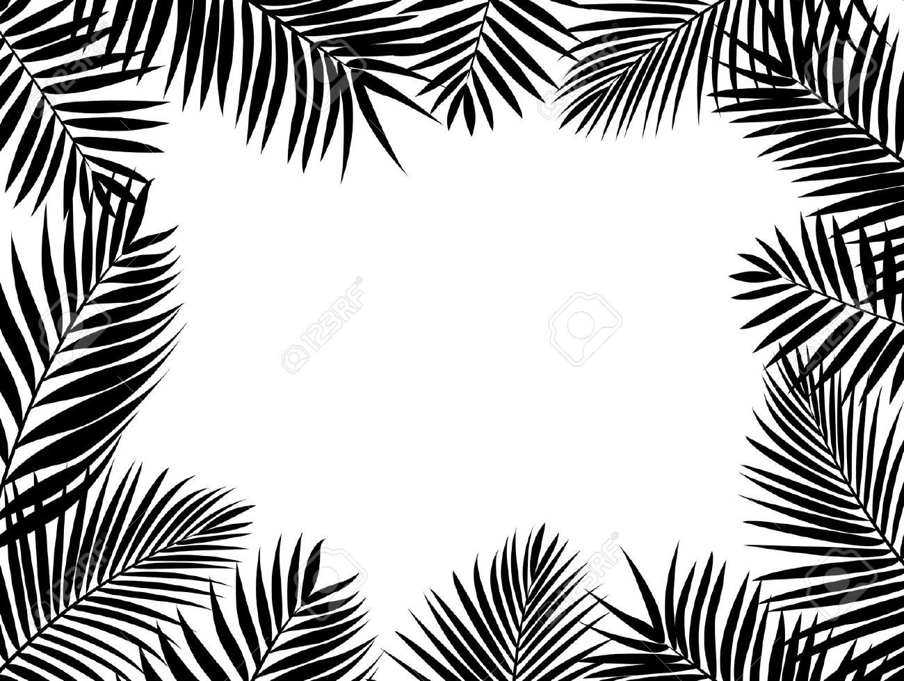 Palm tree leaves clipart black and white.