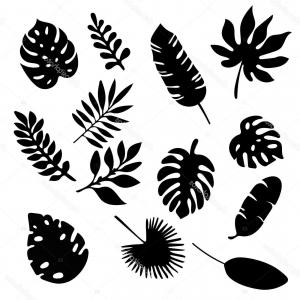 Palm Tree Black Silhouette Vector Clipart.