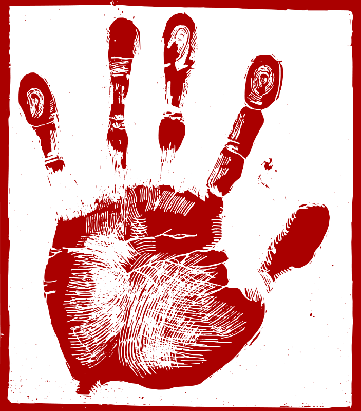 Free Clipart: Red Palm Print.