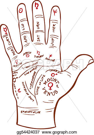 Palm reading clipart #12